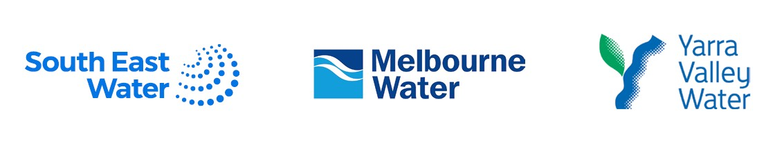 Image showing the logos of South East Water, Melbourne Water and Yarra Valley water