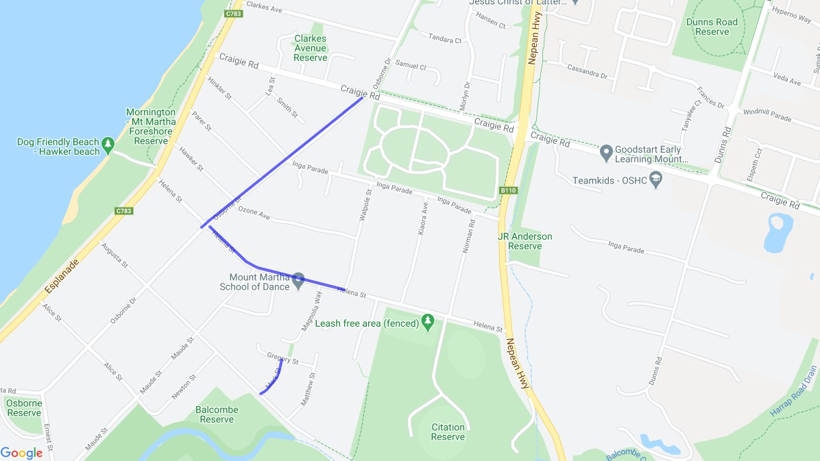 Map of Craigie Road Sewer Upgrade